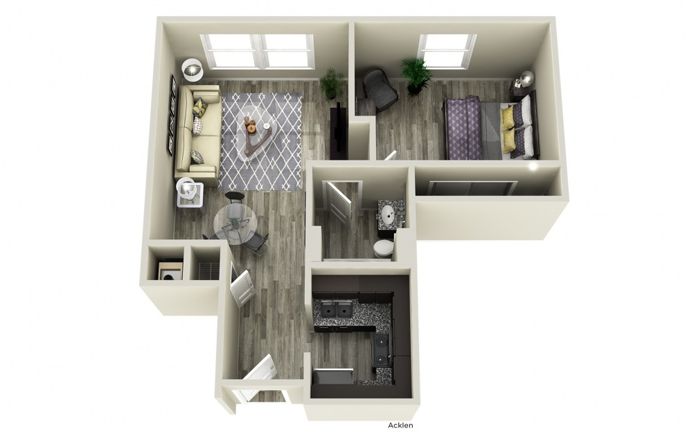Acklen - 1 bedroom floorplan layout with 1 bath and 577 square feet.