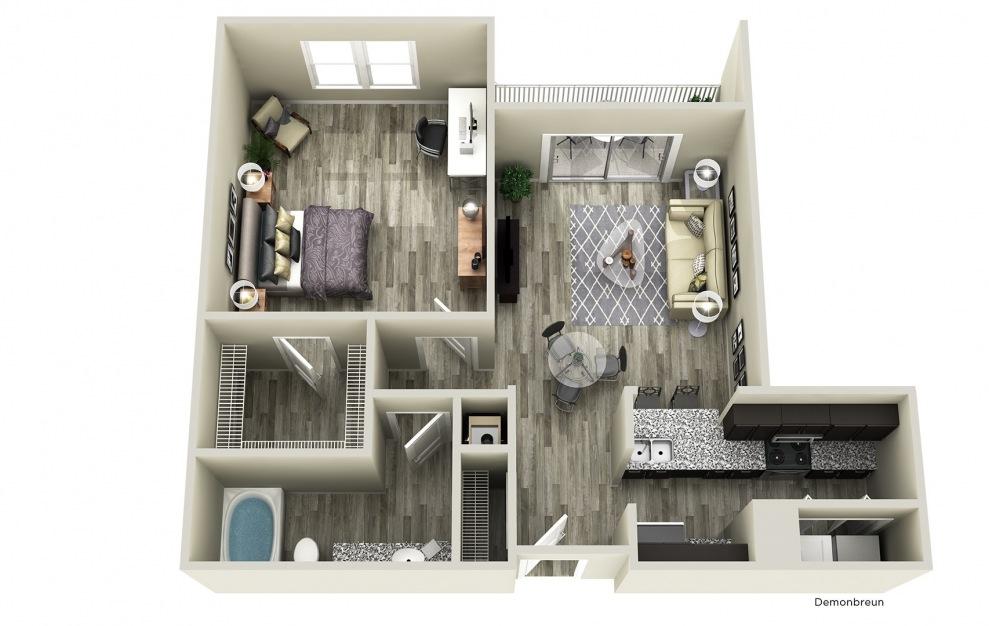 Demonbreun - 1 bedroom floorplan layout with 1 bath and 800 square feet.