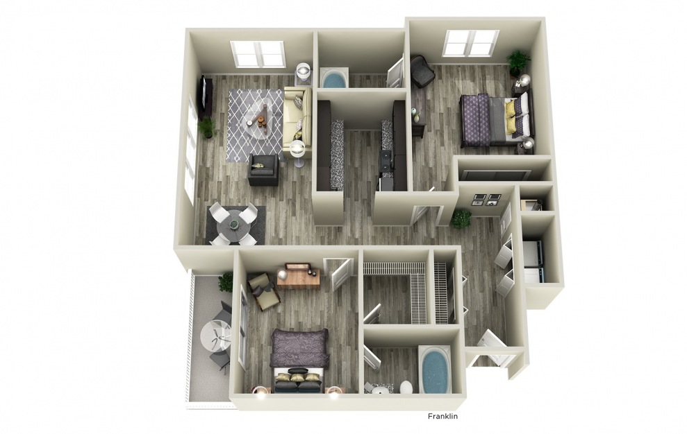 Franklin - 2 bedroom floorplan layout with 2 baths and 1056 square feet.