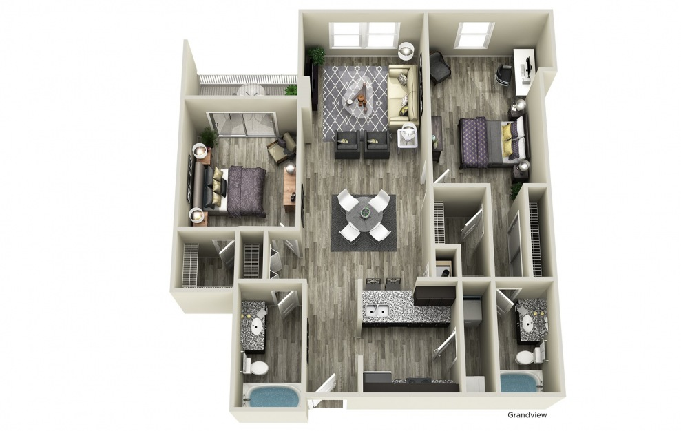 Grandview - 2 bedroom floorplan layout with 2 baths and 1115 square feet.