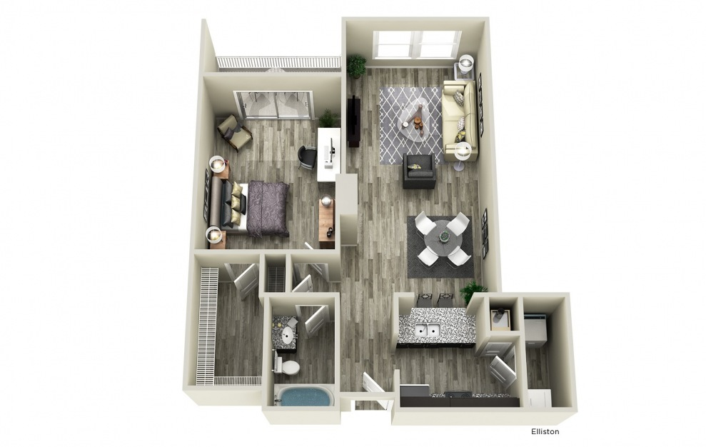 Elliston - 1 bedroom floorplan layout with 1 bath and 861 square feet.