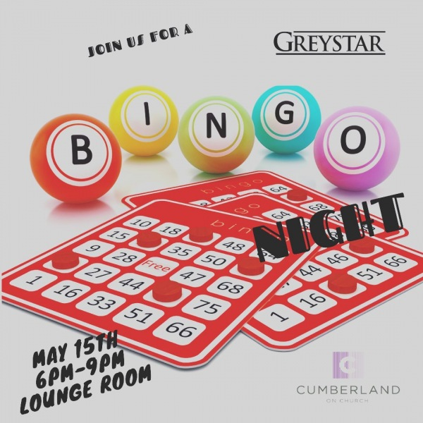 Tonight's the Night‼️ Cumberland residents...join the Greystar team in the Entertainment Lounge for a night of Bingo, fun, food and prizes!